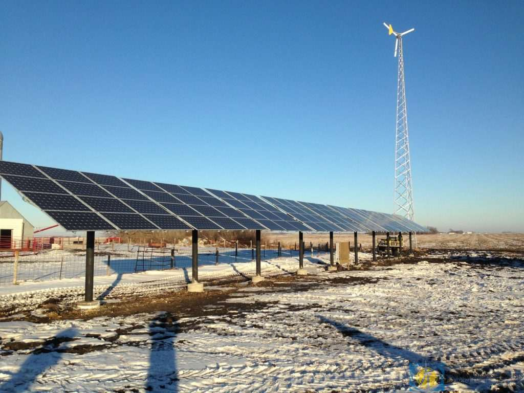 Ground Mount Solar Panels and Wind Turbine