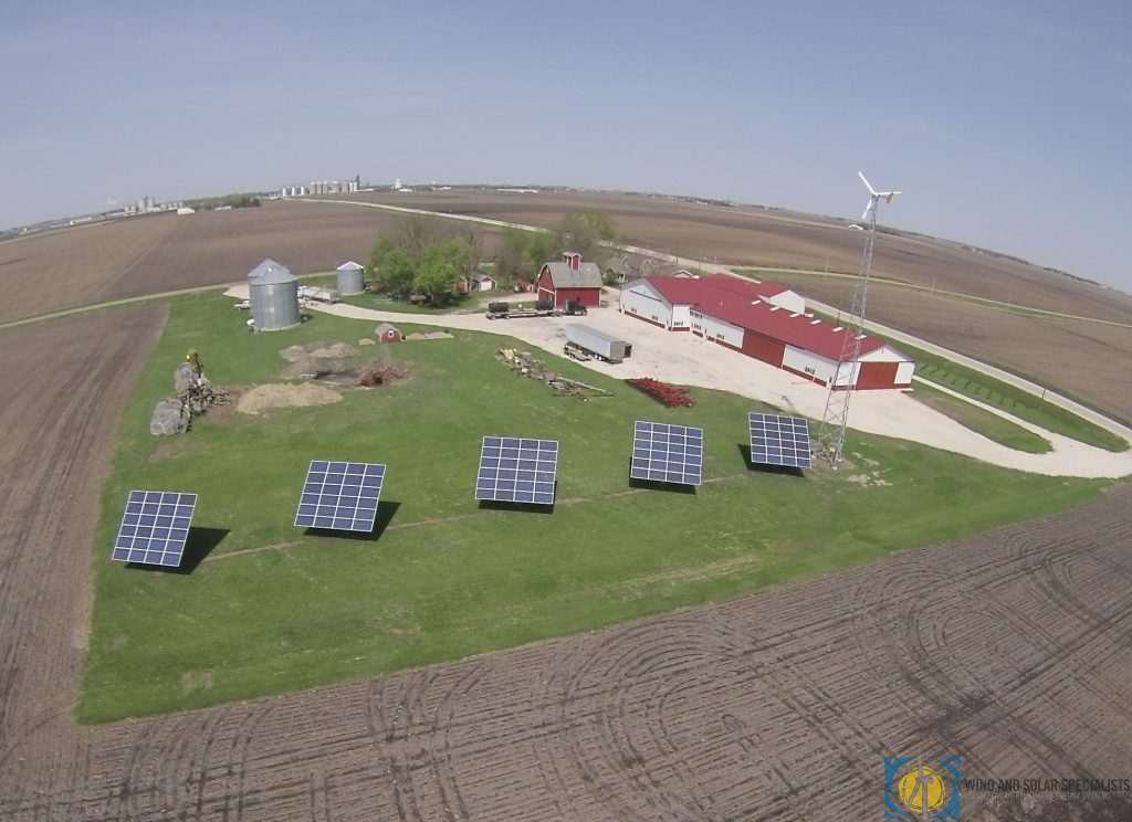 Solar and Wind Power aerial view